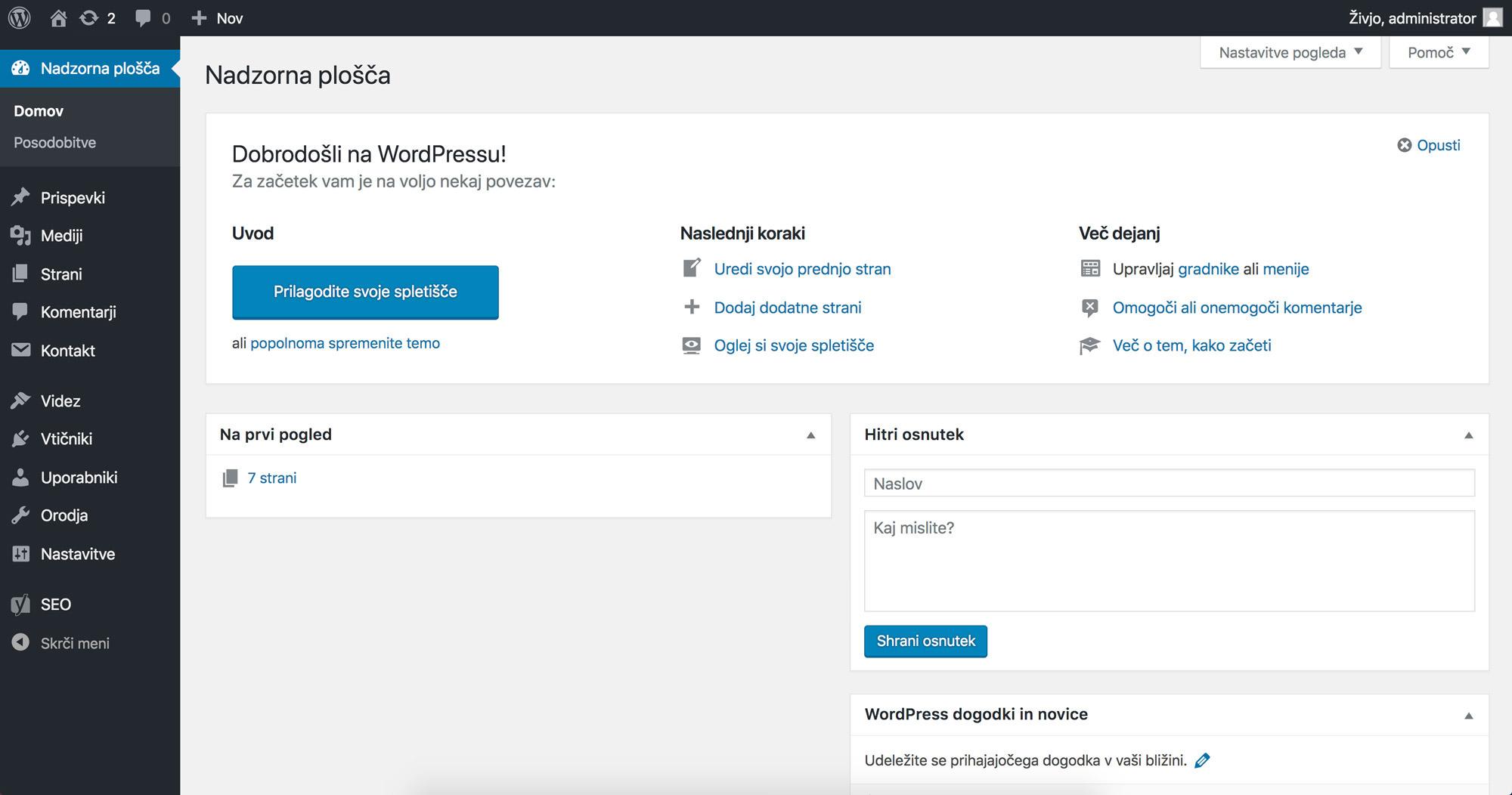 WordPress Nadzorna plošča